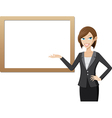 girl with whiteboard vector image vector image
