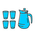 glass icon and blue teapot vector image vector image
