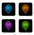 glowing neon map pointer with 18 plus icon vector image vector image