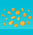 gold coins falling from blue sky sketch money vector image vector image