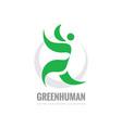 green leaves human character - logo vector image vector image