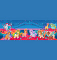 groups of unicorns and pegasus in a fantasy vector image vector image