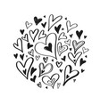 hand drawn doodle heart elements creative vector image vector image