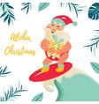 holiday greeting card with aloha santa claus vector image vector image