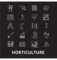 horticulture editable line icons set on vector image
