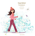 Invitation card with happy girl is skiing for your vector image vector image