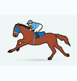 jockey riding horse cartoon sport graphic vector image vector image