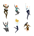 Jumping business people in the air Happy and vector image vector image