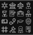 law and justice icons set on black background vector image vector image
