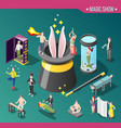 magic show isometric composition vector image vector image