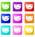 piece of swiss cheese icons 9 set vector image vector image
