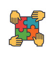 puzzle with 4 hands partnership integrity flat vector image