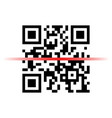 qr code sample with red laser scanner vector image vector image