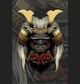 samurai helmet with hair accessories vector image vector image