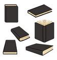 set cartoon black hardcover books vector image vector image