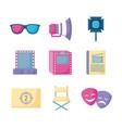 set icons of cinema film vector image vector image
