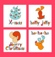 set of christmas greeting cards new year xmas vector image