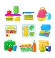 set school lunch boxes lunchbox collection vector image vector image