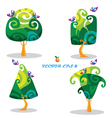 set trees with birds in cartoon style vector image vector image