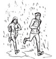 sketch of runners in rain vector image