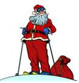 skier santa claus character merry christmas and vector image vector image