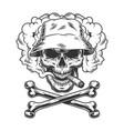skull in panama hat smoking cigar vector image vector image