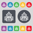Skyscraper icon sign A set of 12 colored buttons