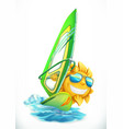 summer windsurfing funny sun on surfboard 3d icon vector image
