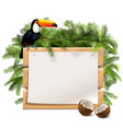 tropical wooden frame vector image