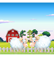 Two sheeps inside the fence with a barn at the vector image vector image