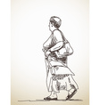 walking woman vector image vector image