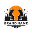 wild wolf logo design template vector image