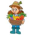 woman farmer holding harvest theme 1 vector image vector image