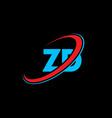 zd z d letter logo design initial letter zd vector image vector image