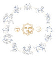 zodiac constellations with drawn astrological vector image