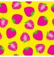 Strawberry seamless pattern Bright pop art Hand vector image