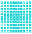 100 offence icons set grunge blue vector image vector image