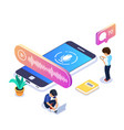 3d isometric voice message concept people listen vector image vector image