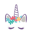 a unicorn with flowers vector image vector image