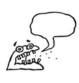 angry jelly monster sponge screams speech bubble vector image vector image