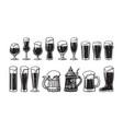 beer glassware set various types glasses vector image vector image