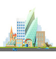 big city with skyscrapers and small houses vector image vector image