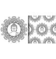 buddha with mandala print and seamless pattern vector image
