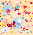 butterflies hearts and flowers seamless pattern vector image vector image