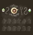 calendar 2018 with chalk lettering vector image vector image