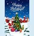 christmas tree in snow santa with gifts and elf vector image vector image