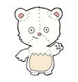 comic cartoon polar bear cub waving vector image vector image