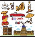 cuba travel sightseeing icons and havana vector image vector image