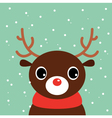 Cute cartoon christmas Deer on snowing background vector image vector image