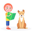 distressed curly boy stands with book and dog vector image vector image